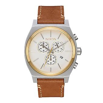 Nixon Time Teller Chrono Leder Gold / Creme / Tan (A1164-2548)
