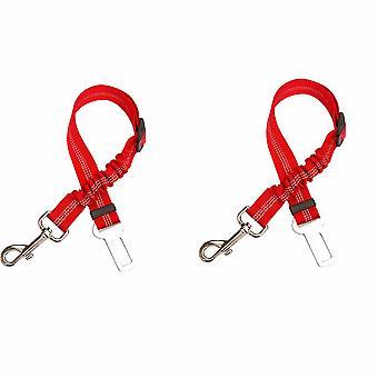 2 piezas de cinturones de seguridad para automóviles, con absorción de impactos y elasticidad ajustable para perros, suministros para mascotas cinturones de seguridad para perros, cuerda de seguridad reflectante elástica (rojo)