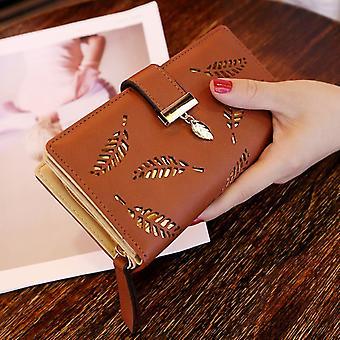 Frauen Geldbörse Pu Leder Geldbörse Weiblich Lange Geldbörse Gold Hohle Blätter Beutel Handtasche Für Frauen Münze Geldbörse Kartenhalter Clutch