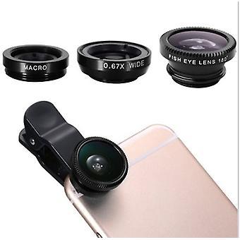 3 in 1 Clamp Objektiv geeignet für Allzweck Smartphone Makro Fisheye Weitwinkel Metall abnehmbare Tasche