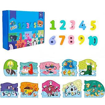 Kid's Learning Wooden Puzzle Numerdals Alphabet Education Ensemble de jouets