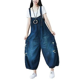 Dark Blue Coloured Demin Overalls Ripped Pants