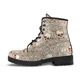 Combat boots - skulls & roses | boho shoes, goth boots, gothic boots, pirate boots, 90s boots