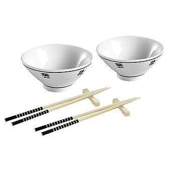 6Pc čínská jídelní sada, 2 bílé porcelánové mísy, 2 bambusové hůlky/2 opěrky