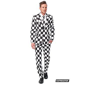 Plaid pattern black white Suitmeister slimline economy 3-piece suit