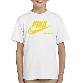 Pokemon Pikachu Nike Logo Pika Just Catch Em Kid's T-Shirt