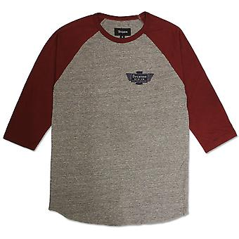 Brixton Cylinder 3/4 Sleeve T-Shirt Heather Grey Burgundy