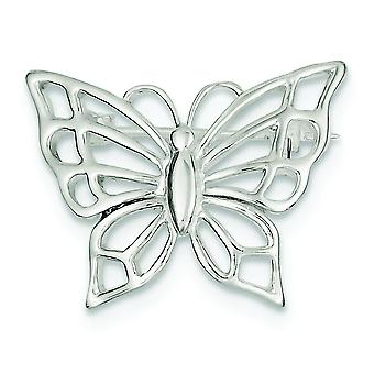 925 Sterling Silver Solid Polished Textured back Butterfly Angel Wings Pin Jewelry Gifts for Women