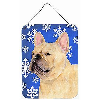 Ranskanbulldoggi talvella lunta Holiday Wall tai ovi roikkuu tulosteita