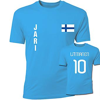 Jari Litmanen फिनलैंड झंडा टी शर्ट (आसमानी)