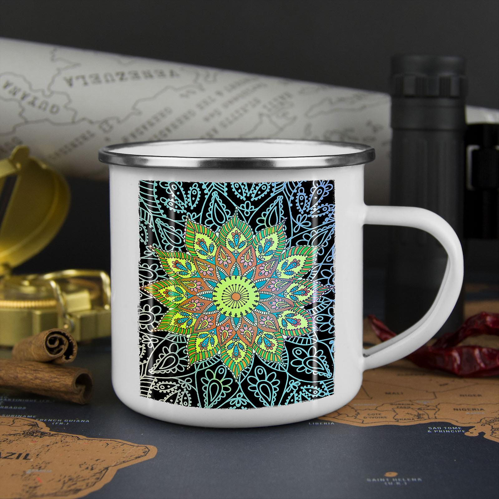 Indien-Schamanen-Mandala neue WhiteTea Kaffee Emaille Mug10 oz   Wellcoda