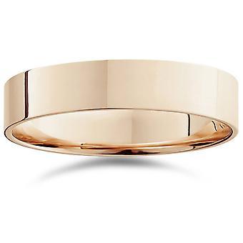 5mm επίπεδη υψηλή γυαλισμένη γαμήλια μπάντα 14K Rose Gold