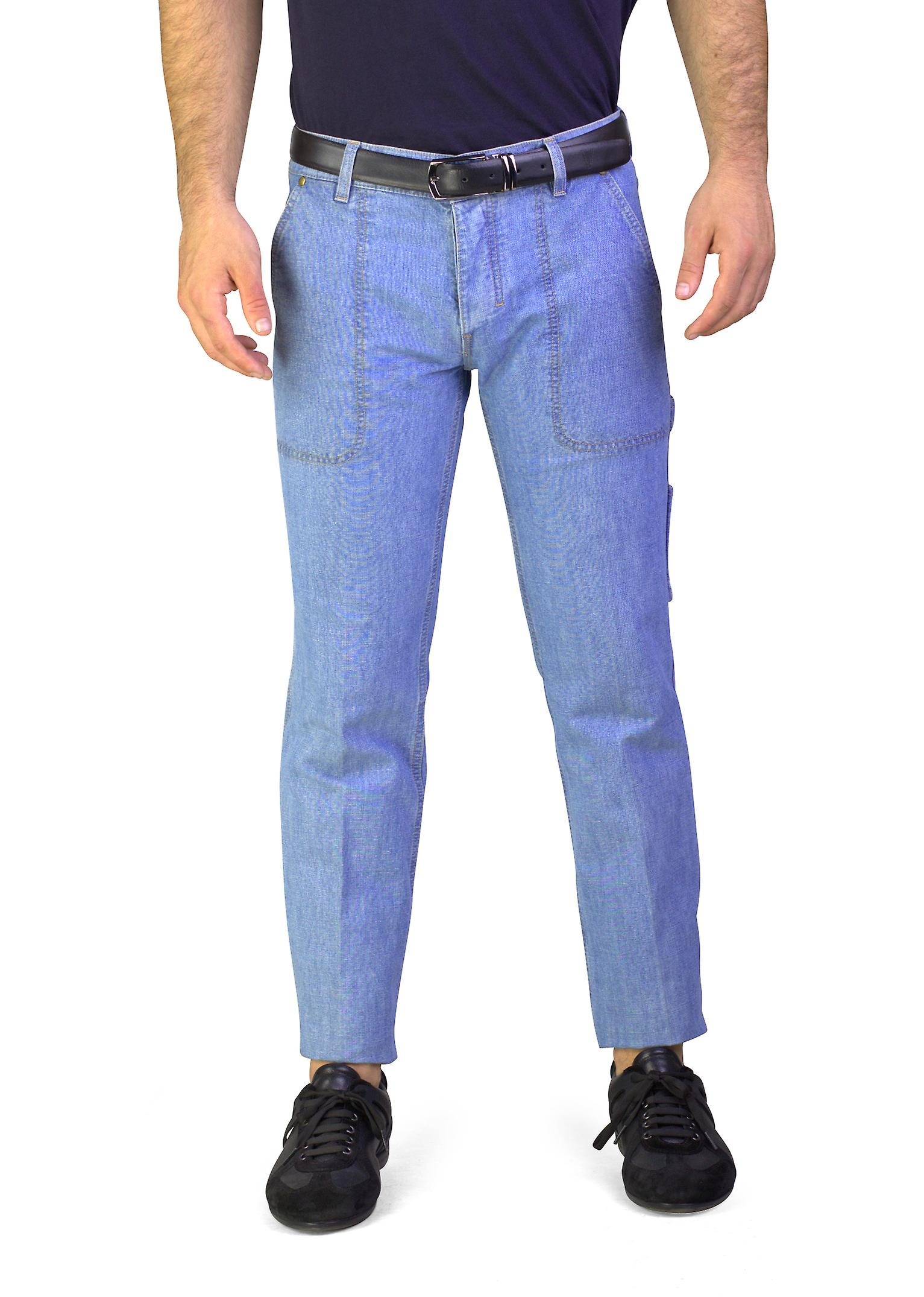 Yves Saint Laurent Men's Utility Bootcut Jeans Light Blue