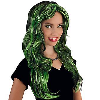Roliga Star grön långt hår peruk