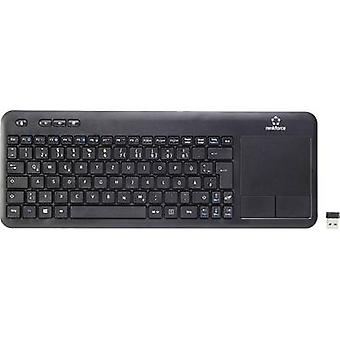 Renkforce Wireless Touch Radio Keyboard QWERTZ Black Touch surface