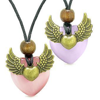 Engel vinger kjærlighet par beste venn hjertet Yin Yang amuletter rosa lilla simulert katter øye halskjeder