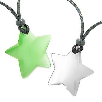 Super Star amuletit rakkaus pari tai parhaat kaverit asettaa vihreä valkoinen Cats Eye kristalli kaulakorut