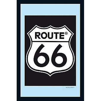 Route 66 mirror of classic logo wall mirror with black plastic framing wood.