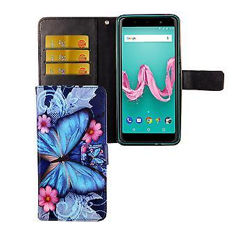 Wiko Lenny 5 lomme telefon ermet beskyttende deksel flip tilfelle med kort brett blå sommerfugl