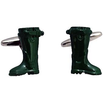 Zennor Wellington Boots Cufflinks - Green
