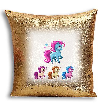 i-Tronixs - Unicorn Printed Design Gold Sequin Cushion / Pillow Cover with Inserted Pillow for Home Decor - 11