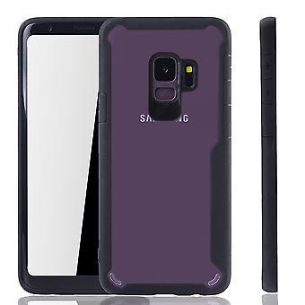 Musta premium Samsung Galaxy S9 hybridi edition kansi. Tukee Langaton lataaminen | hieno akryyli pehmeä silikoni rengas musta