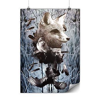 Matte or Glossy Poster with Fox Bear Bird Wild   Wellcoda   *y558