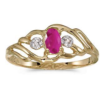 LXR 14k Gul Guld Oval Ruby och Diamantring 0.18ct