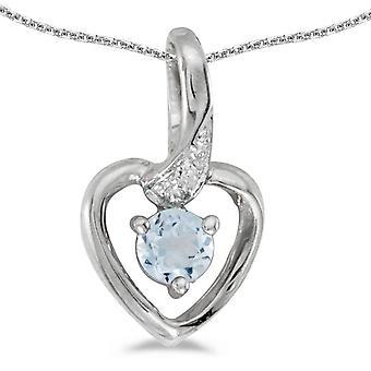 LXR 10k White Gold Round Aquamarine e Diamond Heart Pendant 0.19ct