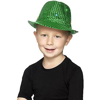 Light Up Sequin Trilby Hat, Green, with Multi-Function LED Lights