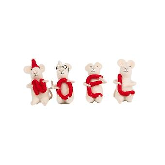 Set of Four Christmas Mice Decorations