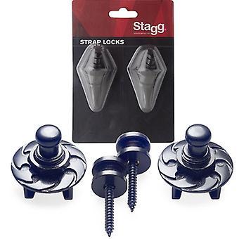 Stagg SSL1 Strap buttons met sluitsysteem - zwart