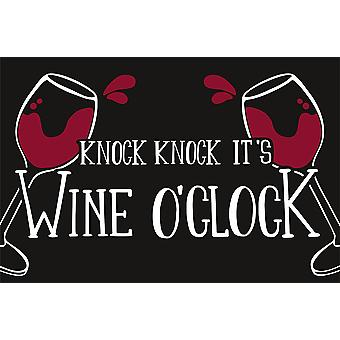 Wine o'clock floor mat black, 100% polyamide, with non-slip PVC bottom