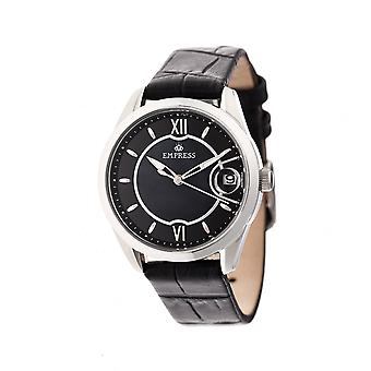 Empress Messalina Automatic MOP Leather-Band Watch w/Date - Black