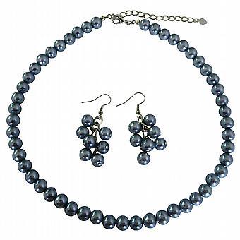 Gris oscuro de la Dama de honor de novia asequibles perlas collar conjunto con Ramos de la pendientes de perlas