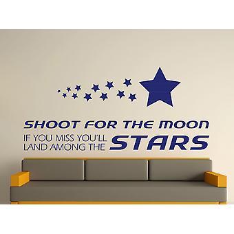 Shoot For The Moon Wall Art Sticker - Ultra Blue