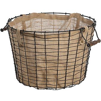 Hill Interiors Circular Wire Basket With Linen Lining