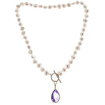 Pearls of the Orient Irregular Freshwater Pearl Amethyst Drop Necklace - Purple/White