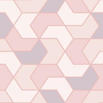 Rosa blanco geométrico Hexagon Wallpaper metálico brillo Glitter Modern Rasch