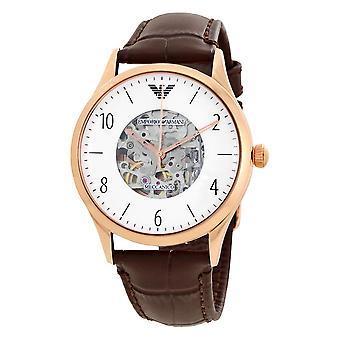 Emporio Armani Men's Automatic Beta Dark Brown Leather Strap Watch