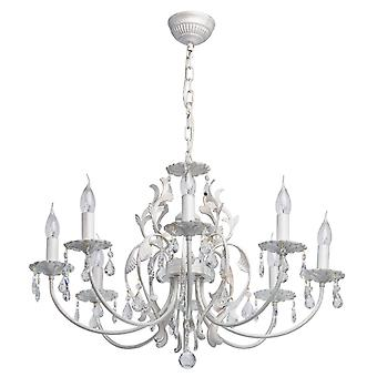 Glasberg - White Eight Light Chandelier With Gold Detail And Crystals 301019908
