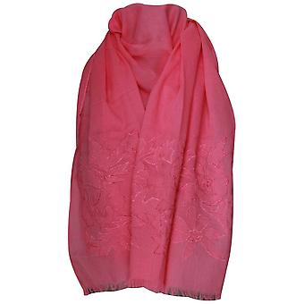 Marie Mero Pink Lightweight Frayed Edge Long Scarf