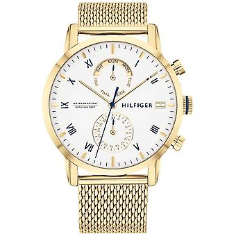 Tommy Hilfiger Kane | Gold IP Mesh Bracelet | White Dial | 1710403 Watch