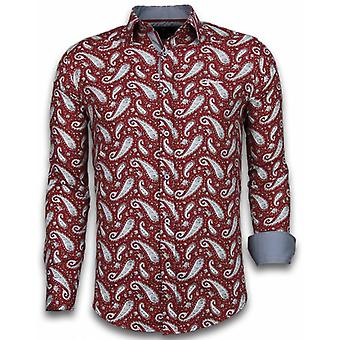 E Shirts - Slim Fit - Flower Pattern - Bordeaux