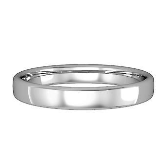 Jewelco London 9ct White Gold - 3mm Essential Bombe Court-Shaped Band Commitment / Anello di nozze