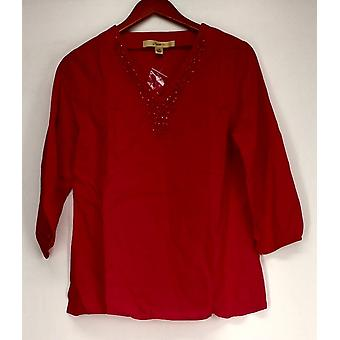 Motto 3/4 Sleeve Tunic w/ Embellished Neckline Fuchsia Pink Top #3