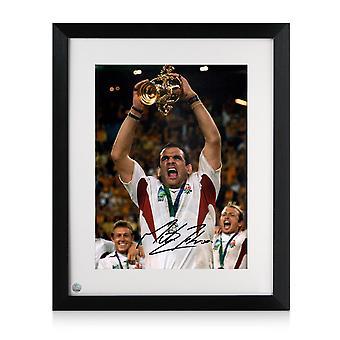 Martin Johnson ondertekende Engeland Rugby foto: Wereldbeker winnaar. Framed
