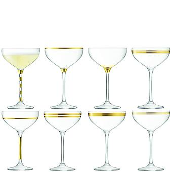 LSA International Deco Assorted Champagne Saucers - Set Of 8 - Gold