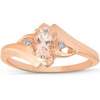 1 / 2ct морганит & алмазов кольцо 14K розовое золото