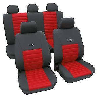 Esportes estilo assento de carro cobre cinza & vermelho para Fiat pun-1999-2018